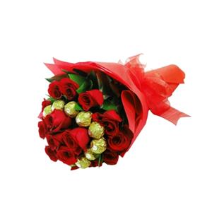 Red Flowers and Ferrero Rocher bouquet