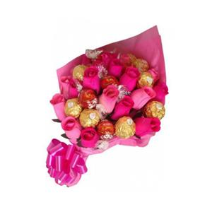 Pink Flowers and Ferrero Rocher bouquet