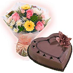 Heart Cake n Flowers