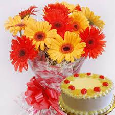 Kathleen cake & Gerberas Bunch