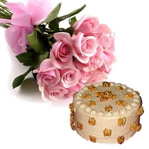 Kathleen cake & Pink Roses