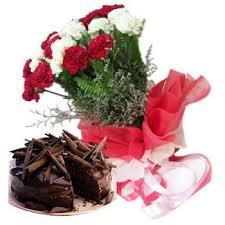 Taj cake & Carnations