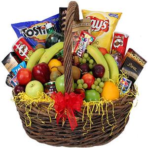 Big basket of Chocolates, Chips, Fruist & Cookies