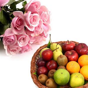 Pink Roses & Fruit Basket
