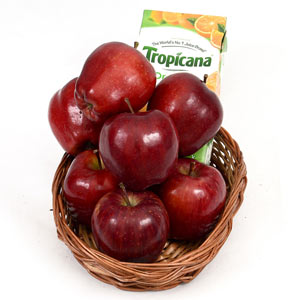 Apple and Tropicana in a Basket