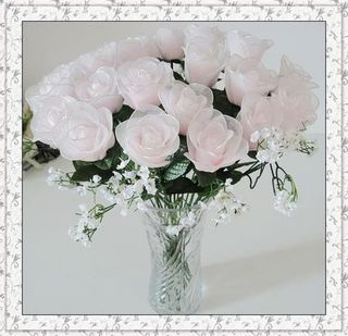 Artificial Pink Roses in Vase