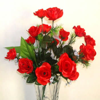 Artificial Red Roses in Vase
