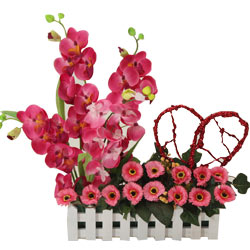 Artificial Pink Orchids & Gerbera