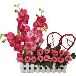 Artificial Pink Orchids & Gerbera