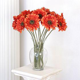 Artificial Orange Gerberas Vase