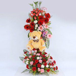 Flower Arrangement With Teddy