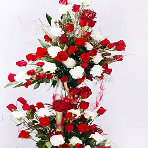 Roses and Carnations Tall Basket