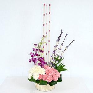 Flower Basket With Artificial Sticks