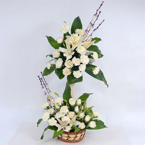 White Roses and Lilies Arrangement
