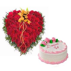 Roses Heart & Love Cake