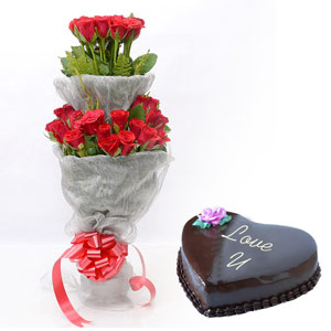 Two Tier Roses & Love cake