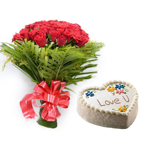 Red Roses & Love Cake