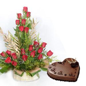 Heart Shape cake & Roses