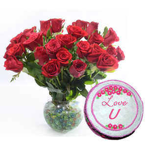 Round Vase Roses & Cake