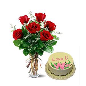 Roses in Vase & Cake