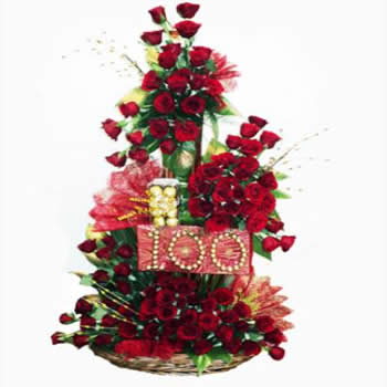 100 Red Roses & Rocher Box