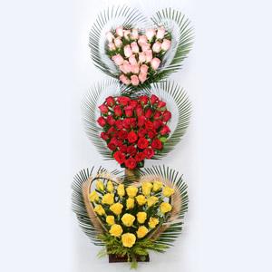 Tri Colored Roses Arrangement