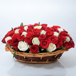 Red and White Roses in Oval Basket