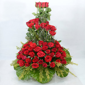 Scarlet Red Roses in a 2 Feet Tall Basket