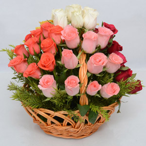 Mixed Roses in Round handle Basket