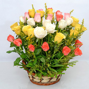 Mixed Roses in a Round Basket
