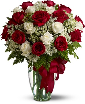 Red & White Roses Vase