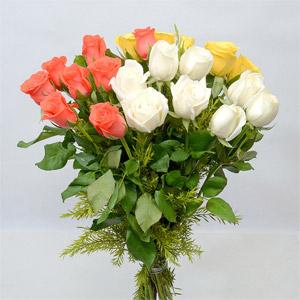 White, Yellow & Orange Roses Bunch