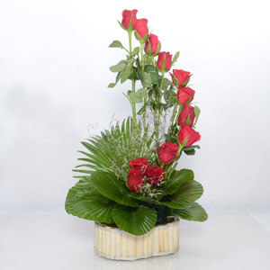 12 Red Roses Basket With Green