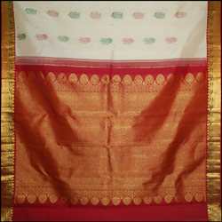 Exclusive Half white color kanjeevaram silk saree