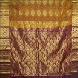 Mixed Mustard color kanjeevaram silk Saree