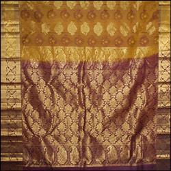 Mixed Mustard color kanjeevaram silk Saree