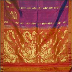 Kalaneta violet color Fancy kanchi silk saree
