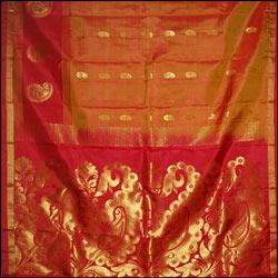 Goldenyellow color Fancy kanchisilk saree