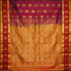 Maroon color kanjeevaram silk