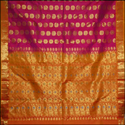 Dark Pink color kanjeevaram silk Saree