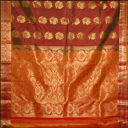Kalanetagreen with Maroon Border Kanjeevaram Silk Saree
