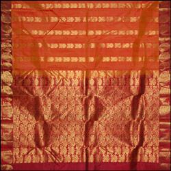 Dark Mustard color kanjeevaram silk Saree