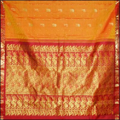 Golden Yellow Kanjeevaram Silk Saree