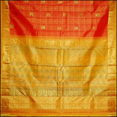 Orange Kanjeevaram Saree