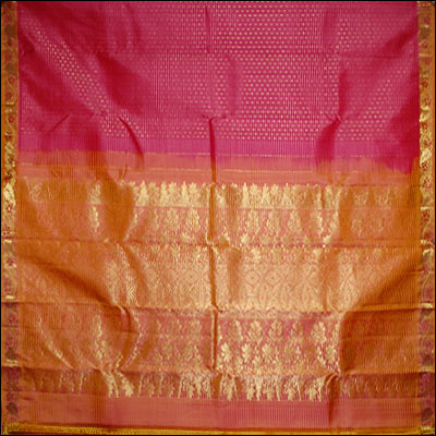 Pink color kanjeevaram silk saree