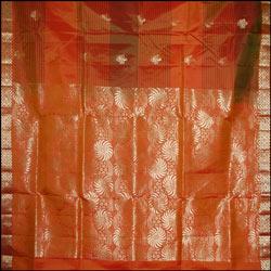 Orange and green Color Soft Silk Saree