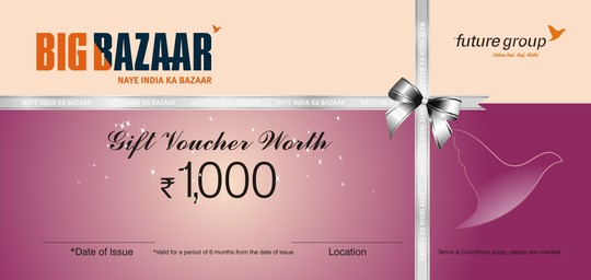 Big Bazaar Gift Vouchers Rs 1500/-