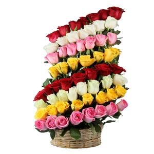 60 Mixed Rose Basket